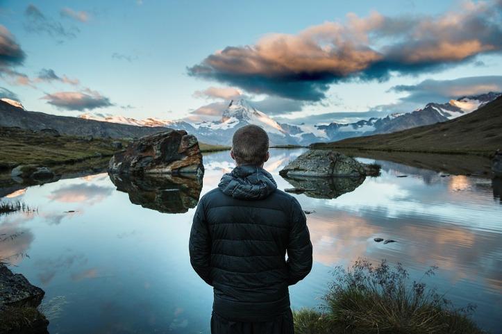 mountain-lake-man