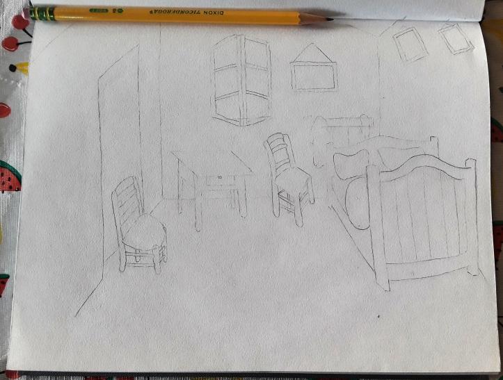 Bedroom at Arles_Sketch-van Gogh